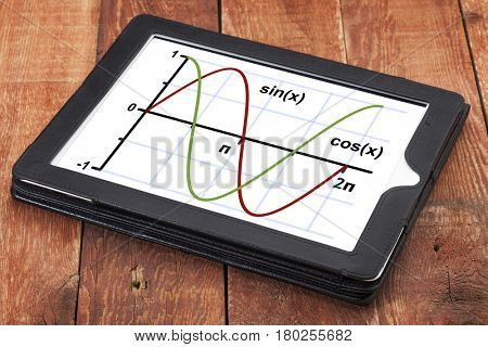 graph of sine and cosine functions  on a digital tablet - science or education concept