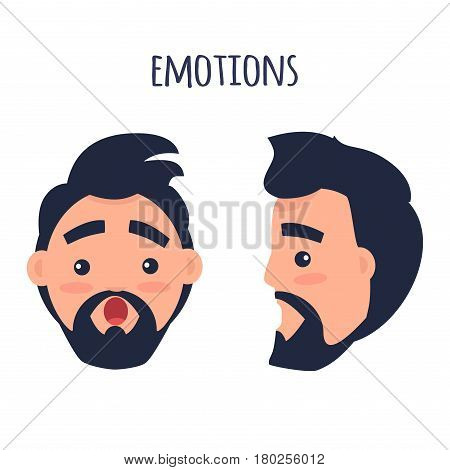 Men Emotions. Man with beard and pink cheeks surprised with open mouth. Face from two different angles of view isolated on white background. Cartoon shocked male character vector illustration.