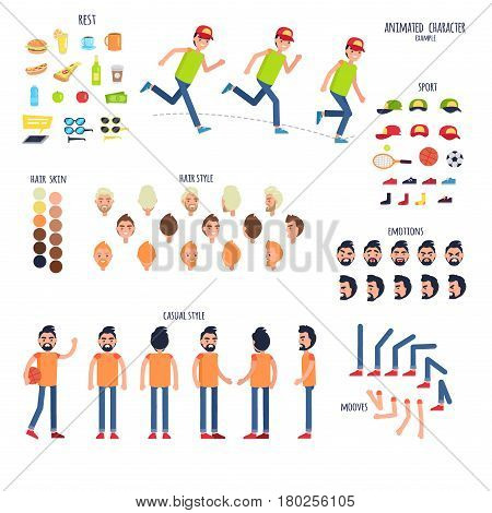 Animated character set human body parts and rest things. Vector poster of moving boy signs, sport equipment, colored hairstyles, bent arms and legs, emotions on faces and man in casual clothes
