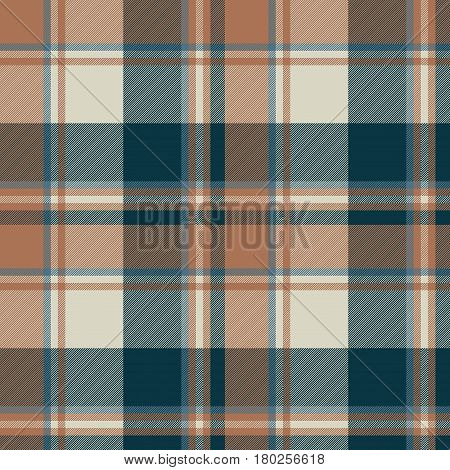 Check classic dark plaid fabric texture seamless pattern. Vector illustration.
