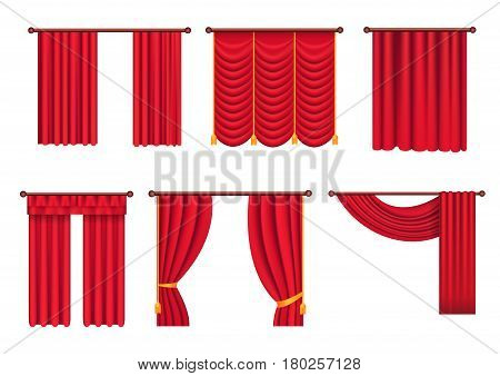 Heavy drapes of red fabric with gold tie back ribbons, tassels and lambrequin isolated vectors set.    Classic victorian curtains on cornice illustration for window dressing or interior design concept