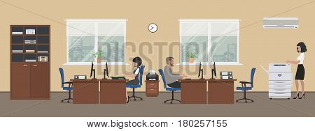 Office room in a beige color. The young women and man are employees at work. There is brown furniture, blue chairs, a copy machine on a window background in the picture. Vector flat illustration.