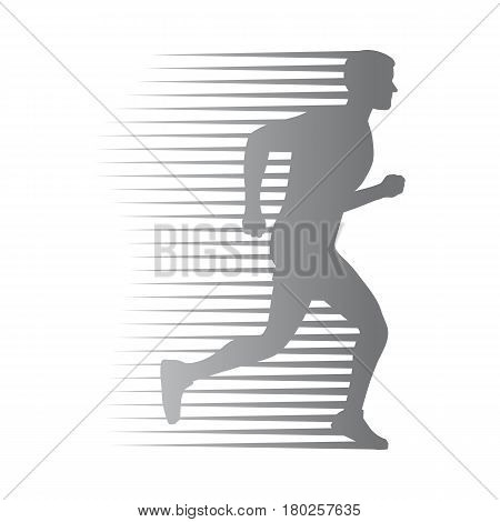 Silhouette of isolated running man with moving lines on white. Athletic logotype of quickly running person. Sport lifestyle colourless vector illustration. Motion movement in cartoon style flat design