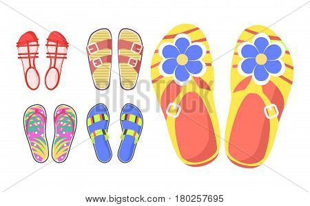 Set of summer shoes in cartoon style flat design isolated on white. Vector illustration of slippers with buckles and flowers, thongs with leaves and red sandals. Web banner of aestival women footwear.