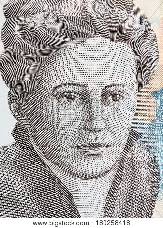 Nadezda Petrovic portrait from Serbian money - dinar