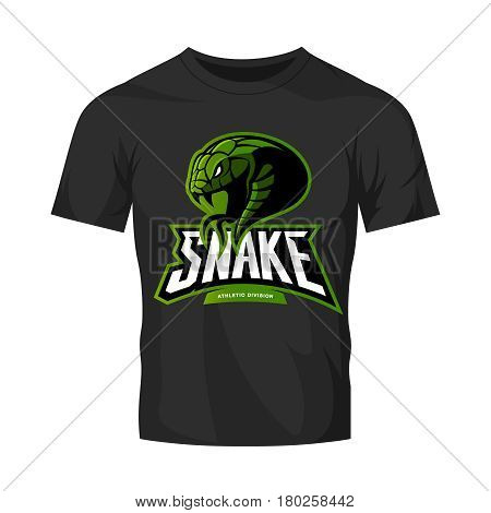 Furious green snake sport vector logo concept isolated on black t-shirt mockup. Modern professional team badge design. Premium quality wild animal t-shirt tee print illustration.