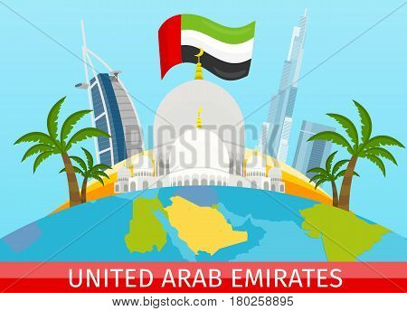 United Arab Emirates tourism poster design with attractions. Sheikh Zayed Mosque. Emirates landmark with flag. Emirates travel poster design in flat. Travel composition with famous landmarks.