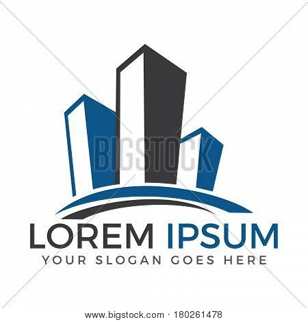 Real estate logo concept illustration. Building logo in classic graphic style. Cityscape logo. Abstract vector logo of buildings. Skyscrapers logo. Vector logo template. Design element.