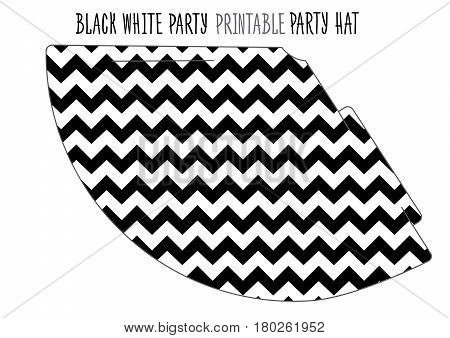 Party hat printable for Black and white Party. Handmade cut out