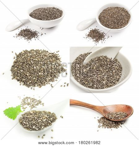 Collection of chia seeds on a white background clipping path