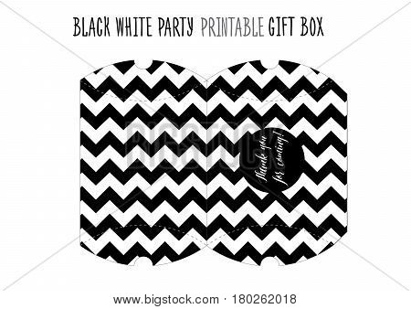 Printable gift box for Black and white Party. Handmade cut out