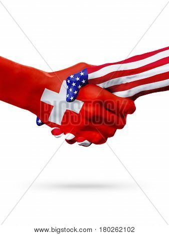 Flags Switzerland USA countries handshake cooperation partnership friendship or sports team competition concept isolated on white