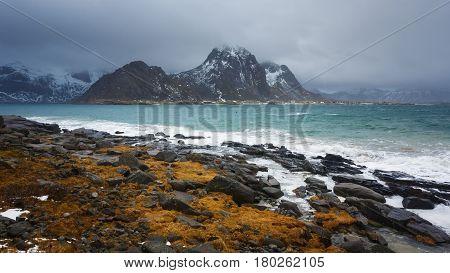 Landscape of Lofoten islands in cloudy weather in winter