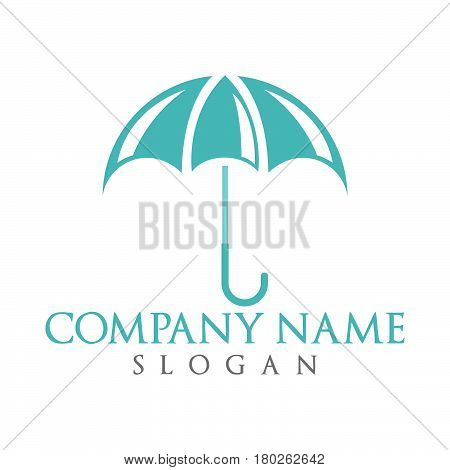 Vector umbrella logo design. Colored umbrella logotype.