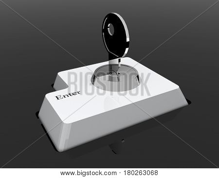Data input blocking. Isolated 3D image on black . Security concept