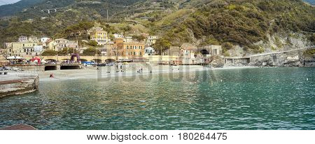 Wide angle panorama of the village of Monterosso (Cinque Terre UNESCO Site, Liguria, Northern Italy).