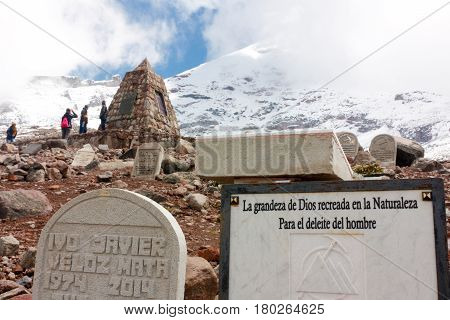 CHIMBORAZO, ECUADOR -JUNE 6, 2016P Chimborazo volcano climb. Tombstones in honor of those who in the past have died in the attempt. The volcano is  tourist attraction