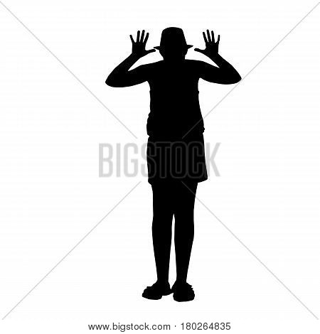 black silhouettes of a ridicule girl isolated on white background - vector