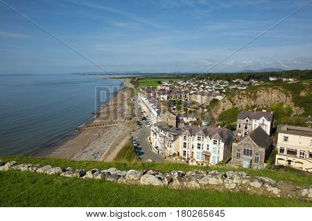 Criccieth North Wales UK coast town in Gwynedd located south of Caernarfon in summer on Cardigan Bay