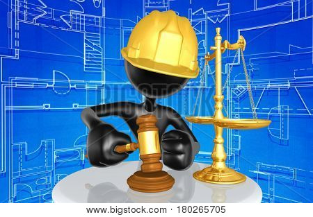 Construction Worker The Original 3D Character Illustration With Gavel