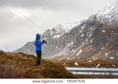 The photographer take a picture of Lofoten islands in winter