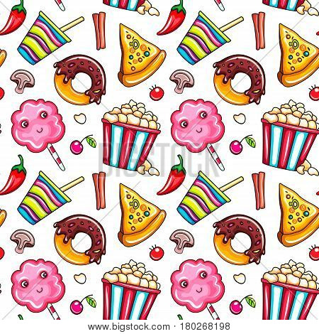 Seamless pattern fast food. Cup of cola or coffee, pizza slice,  chocolate doughnut, bucket popcorn and cute cotton candy. Vector illustration isolated on dark background for wrapping paper, web site
