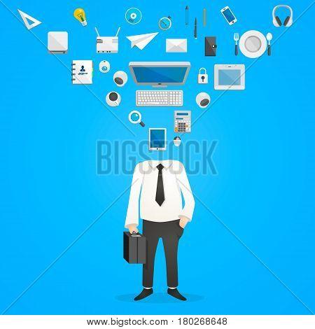 Head of icons office desk . Vector Illustration