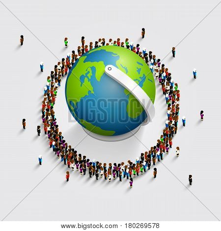 People surrounded the globe. 3d isometric . Vector illustration