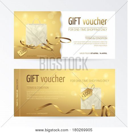 Vector set of gift voucher with paper shopping bag, small bow, ribbons and tags on the shiny gold background. Modern template for holiday certificate, coupon and gift cards.