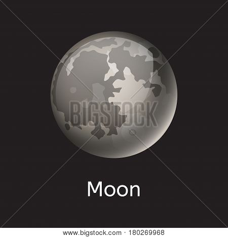 High quality gray planet galaxy astronomy universe moon science globe cosmos orbit star vector illustration. Astrology planetary world exploration journey scientific surface.