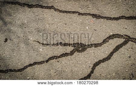 Asphalt, cracked asphalt, gray asphalt, asphalt road