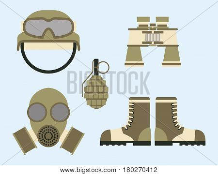 Military ammunition symbols armor set forces design and american fighter ammunition navy camouflage sign vector illustration. Uniform battle sniper automatic special tools.