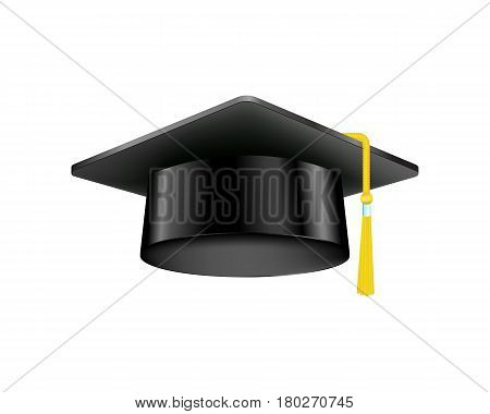 Graduation cap with gold tassel isolated on white background and education ceremony black hat academic diploma intelligence vector illusration. Academy master symbol traditional sign.