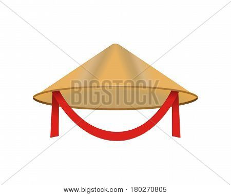 Chinese conical straw hat vector isolated on white asian vietnamese traditional clothing and headgear thailand accessories vector illustration. Female thai bamboo farmer protection wear.