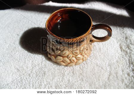 black hot coffee in clay beautiful cup new day is start