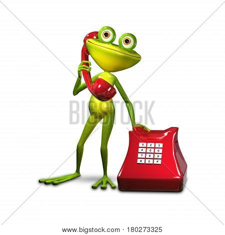 3d Illustration Green Frog with Red Phone