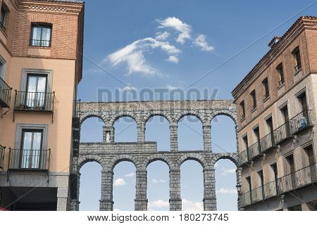 Segovia (Castilla y Leon Spain): the Roman aqueduct Unesco World Heritage Site