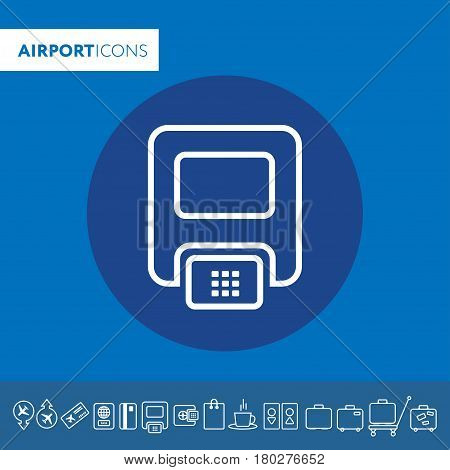 Pos Terminal Icon. Drop Shadow Silhouette Symbol. Store Payment Terminal With Check And Credit Card.
