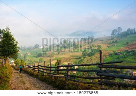 Country Road  at sunny morning,  Vorokhta,   Carpathian Mountains, Ukraine.