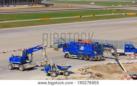 Kloten, Switzerland - 28 March, 2017: construction works in the Zurich Airport. The Zurich Airport, also known as the Kloten Airport, is the largest airport in Switzerland.