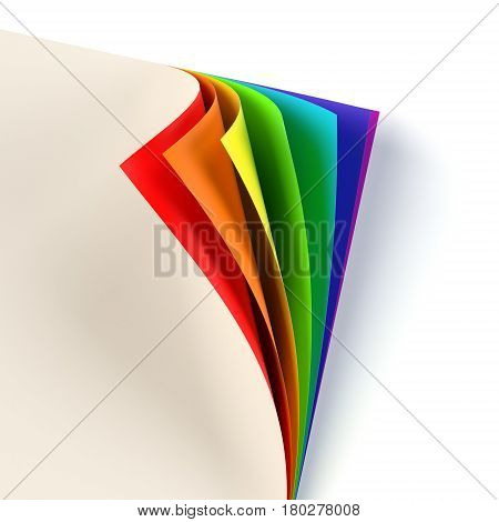 Blank document rainbow colored curled corner. Empty template mock up. Business corporate identity, advertisement, poster with turning corner, colors and shadow. Graphic design element. 3D illustration