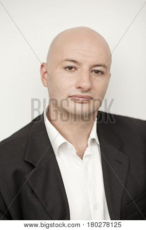 Portrait of middle-aged serious businessman. Closeup portrait