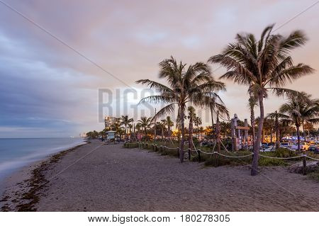 Beatiful Dania beach at dusk. Hollywood Beach Florida United States