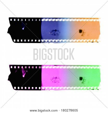 Two colorful film strip frames. Graphic element.