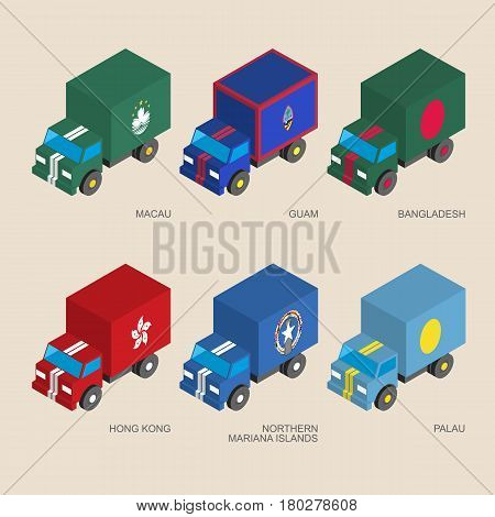 Set of isometric 3d cargo trucks with flags of Asian countries. Cars with standards - Hong Kong, Bangladesh, Macau, Guam, Palau, Northern Mariana Islands. Transport icons for infographics.