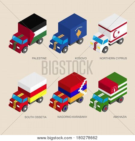 Isometric 3d cargo trucks with flags of a disputed territories and partially recognised states. Cars with standards - Palestine, Kosovo, Northern Cyprus, Abkhazia, South Ossetia, Nagorno-Karabakh.