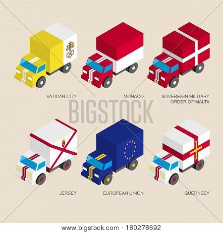 Set of isometric 3d cargo trucks with flags of European countries. Cars with standards -  Vatican, Monaco, Order of Malta, Jersey, Guernsey, European Union (EU). Transport icons for infographics.