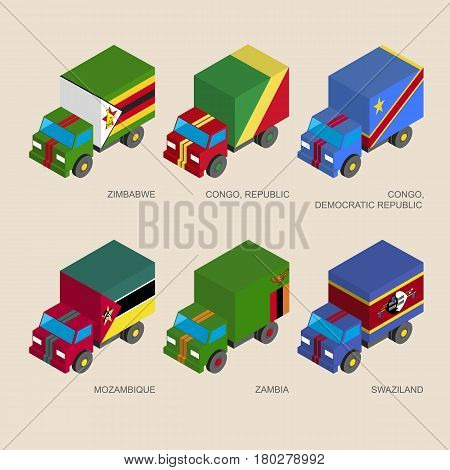 Set of isometric 3d cargo trucks with flags of African countries. Cars with standards -  Zimbabwe, Zambia, Mozambique, Swaziland, Congo Republic. Transport icons for infographics.