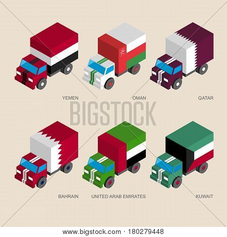 Set of isometric 3d cargo trucks with flags of Middle East countries. Cars with standards - Yemen, Oman, Qatar, United Arab Emirates (UAE), Kuwait, Bahrain. Transport icons for infographics.