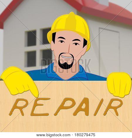 House Repair Represents Fix House 3D Illustration